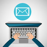 Person working laptop email social media graphic. Vector illustration eps 10 Royalty Free Stock Photo