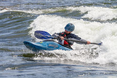 Person working on a wave at the Payette River Games Stock Image