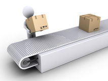 Person works in the shipping of carton boxes. 3d person is putting a box on conveyor for shipping Stock Photography