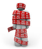 Person Wrapped Up in Red Tape of Bureaucracy stock illustration