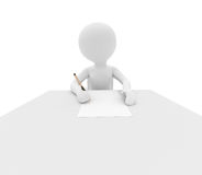 Person writes on white table stock images