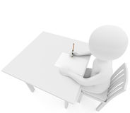 Person writes on white table royalty free stock photography