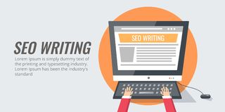 Seo copy writing, content development and creation. Digital content for search engine optimization. Flat design banner. Royalty Free Stock Photography
