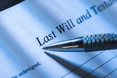 Person writing last will and testament. Close-up Of A Person Writing Last Will and Testament stock image