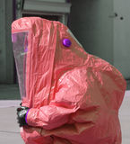 Person with yellow protective suit to work in presence of asbest Royalty Free Stock Photos