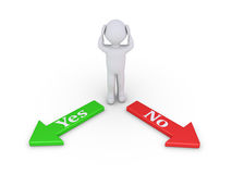 Person between Yes and No Royalty Free Stock Photo