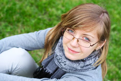The person of the young girl in glasses Royalty Free Stock Photos