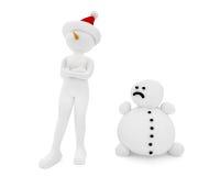 persona 3d y muñeco de nieve Fotografía de archivo libre de regalías