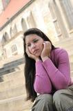 Persona adolescente en la depresión al aire libre Foto de archivo