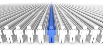 Persona azul de la gente 3D del icono en el centro Fotos de archivo