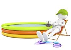 persona bianca 3d che prende il sole su una chaise-lounge con una bevanda di rinfresco Fotografia Stock