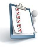 Persona bianca 3d con una lista di ToDo del controllo della lavagna per appunti Fotografia Stock Libera da Diritti
