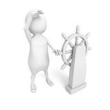Persona blanca 3d con el volante de la nave Fotografía de archivo libre de regalías
