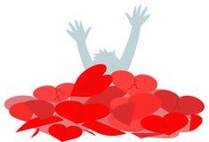 Persona che annega nell'amore insano Immagine Stock