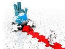 Persona che cammina sui puzzle rossi e bianchi Immagine Stock