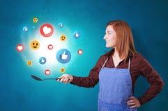 Persona che cucina concetto sociale di media in wok illustrazione vettoriale