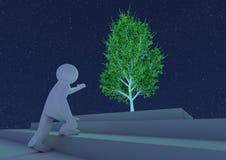 Persona che raggiunge verso un albero astratto Immagini Stock Libere da Diritti