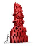 Persona che spinge pila di parole di Web Fotografia Stock