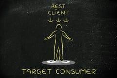 Persona che sta sull'obiettivo con il migliori segno del cliente ed obiettivo del testo Fotografie Stock