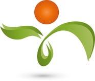 Persona como logotipo de la planta, del naturopath y de la salud Foto de archivo libre de regalías