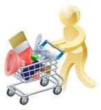 Persona con el carro de la compra de las herramientas Imagenes de archivo