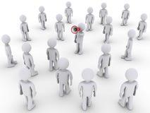 Persona con il megafono che chiama altri per unirsi Immagine Stock