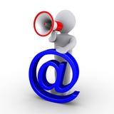 Persona con il simbolo del email della holding del megafono Fotografia Stock Libera da Diritti