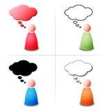 Persona con la burbuja del pensamiento Imagen de archivo