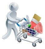 Persona con la carretilla de las herramientas Imagen de archivo libre de regalías