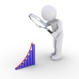 Persona con la lupa que mira para el buen gráfico de los resultados Foto de archivo libre de regalías