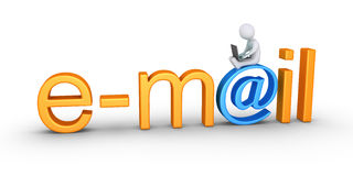 Persona con palabra del ordenador portátil y del email Fotografía de archivo