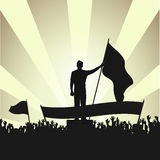 Persona con una bandera entre el público activo contra los reflectores libre illustration