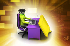 persona 3d che chiacchiera con il computer portatile Fotografia Stock