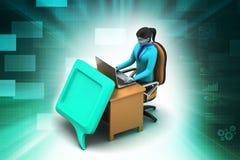 persona 3d che chiacchiera con il computer portatile Fotografie Stock