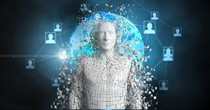 persona 3d con il globo e forma umana nel fondo Immagine Stock Libera da Diritti