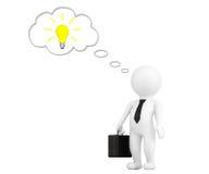 persona 3d con la lampadina della bolla e di idea di pensiero Fotografie Stock Libere da Diritti