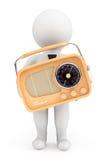 persona 3d con la radio d'annata Immagini Stock Libere da Diritti