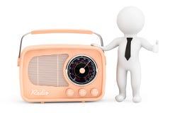 persona 3d con la radio d'annata Fotografie Stock