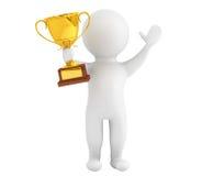 persona 3d con un trofeo dell'oro in mani Fotografie Stock Libere da Diritti