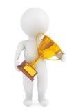 persona 3d con un trofeo dell'oro in mani Fotografia Stock Libera da Diritti