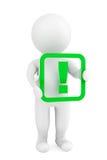 persona 3d con una marca de exclamación Fotografía de archivo libre de regalías