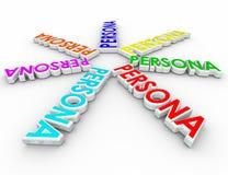 Persona 3d Formułuje klientów Unikalnych profili/lów Różne potrzeby Fotografia Stock
