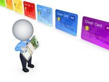 persona 3d y tarjetas de crédito coloridas. Imágenes de archivo libres de regalías