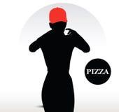 Persona de la entrega de la pizza Foto de archivo libre de regalías