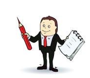 Persona de la historieta con la libreta espiral en blanco y a Imágenes de archivo libres de regalías