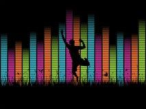 Persona de salto delante de golpes de la música. stock de ilustración