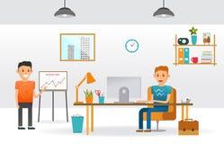 Persona de trabajo de los personajes de dibujos animados del negocio en gabinete de la oficina ilustración del vector