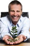 Persona del asunto feliz sobre abundancia financiera. Imagenes de archivo