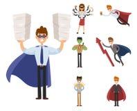 Persona del carattere dell'illustrazione di vettore della donna dell'uomo di affari del supereroe forte di successo del fumetto d Fotografia Stock Libera da Diritti