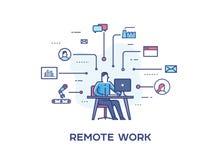 Persona del negocio que trabaja en el ordenador Iconos del asunto Esfuerzos conjuntos, éxito, unión Cooperación del éxito Línea i Foto de archivo
